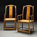 A pair of huanghuali continous yokeback armchairs (nanguanmaoyi), ming dynasty, 17th century