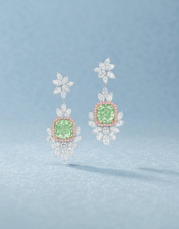 Pair of fancy yellowish green diamond, pink diamond and diamond pendent earrings