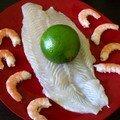 filet de panga, citron vert et crevettes