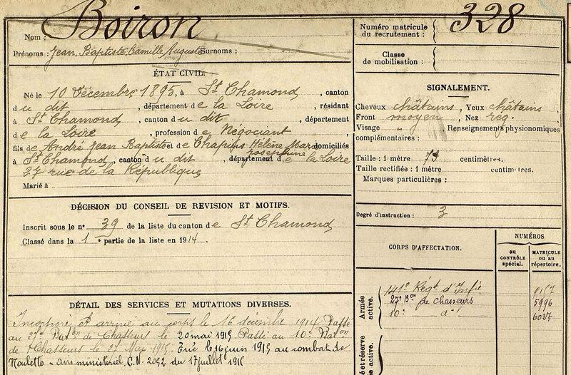 Jean Boiron, fiche matricule