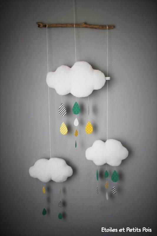 Mobile Nuage gouttes de pluie canard jaune gris