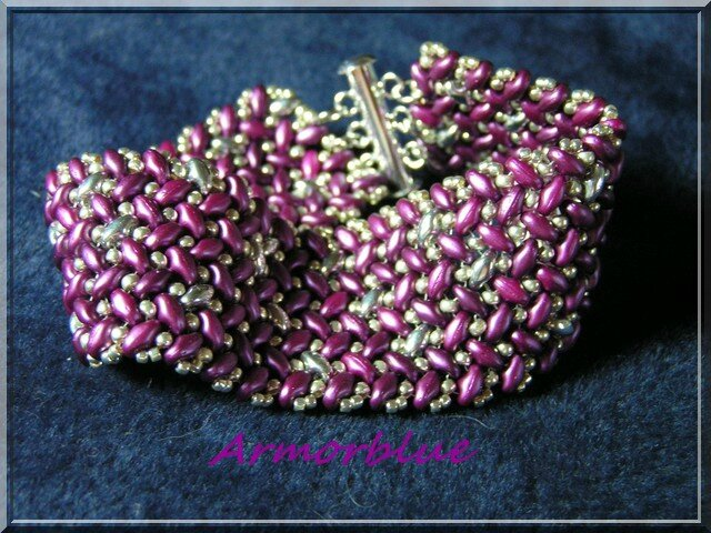 super duo knit herringbone bracelet prune(2)