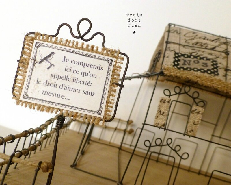 There is no place like home, wire art, fil de fer, wire, wire tree, wire house, wire church, trois fois rien 2