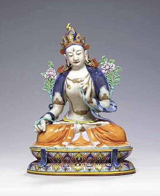 A rare famille rose figure of white Tara, Qianlong period (1736-1795)