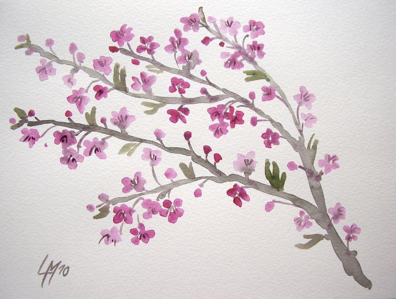 Encore des cerisiers les pinceaux de malela - Dessin arbre japonais ...