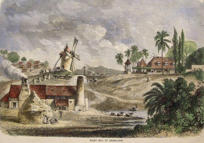 habitation-sucrerie, Guadeloupe, vers 1850
