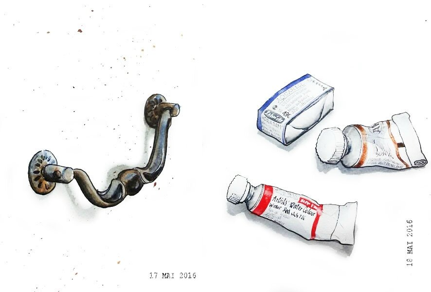 17 - Latch or drawer pull / 18 - Paint can, tube or bottle
