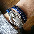 Bracelet double Ceinture de Cuir (bleu) porté