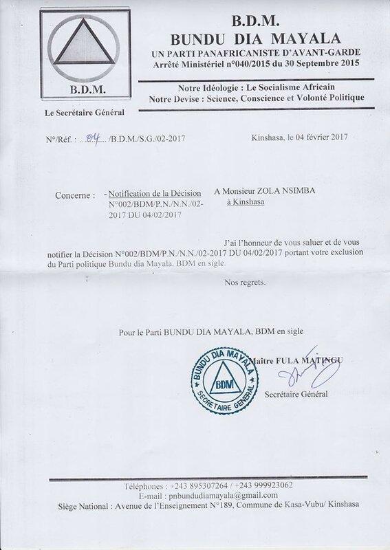 EXCLUSION ZOLA NSIMBA