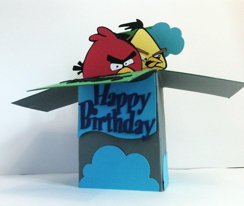 carte pop-up 3d anniversaire enfant Angry Birds garçon 4 ans