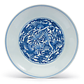 A rare blue and white 'crane and peach' dish, yongzheng six-character mark and of the period (1723-1735)