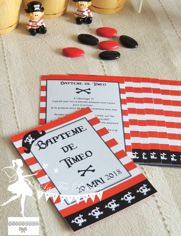 faire part bapteme pirate dragee mini sujet rouge noir