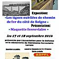 17 et 18 septembre 2016, solgne : exposition de l'association pour la défense et la découverte du patrimoine ferroviaire lorrain