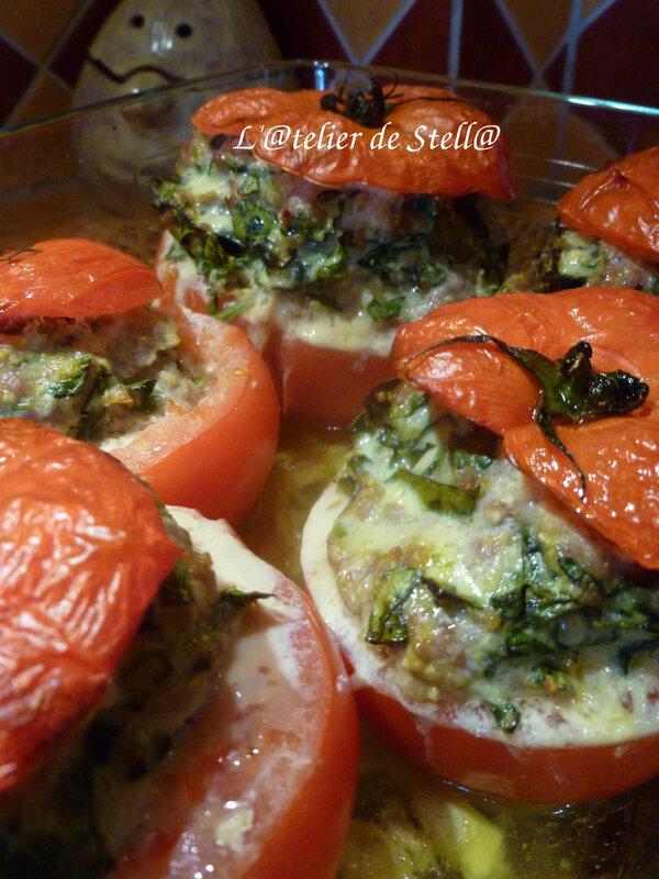 Tomates farcies aux épinards