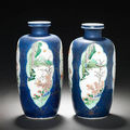 A pair of famille verte powder-blue-ground oviform vases. kangxi
