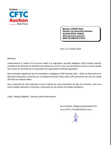 COURRIER A MR OLIVIER LURSON
