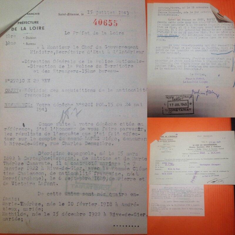 Dossier de naturalisation Diégo enquête pour maintien naturalisation 1943