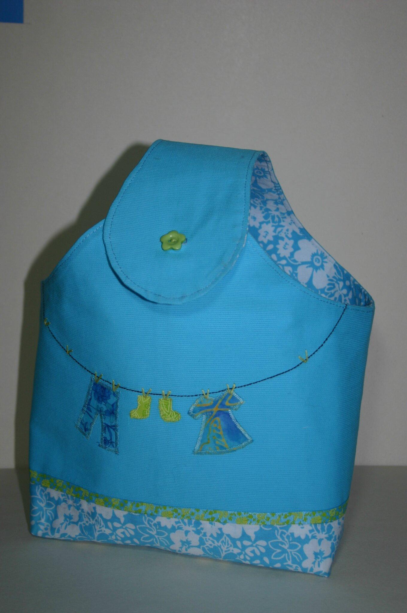 sac pinces à linge turquoise 002