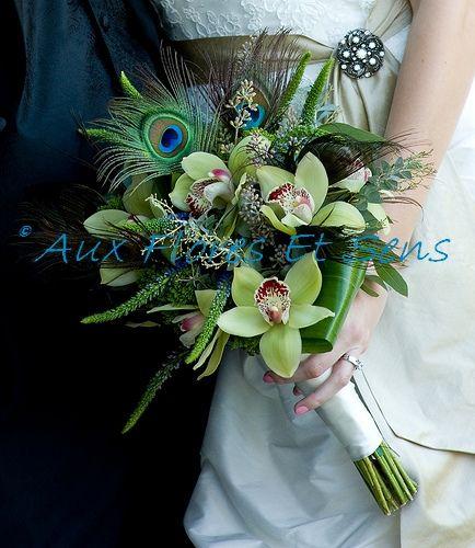 Bouquet de mariée avec plume de Paon
