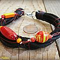 Bracelet cuir et perles (Br48)