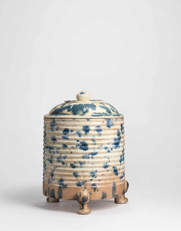 A Blue Splashedsancai-Glazed Cylindrical Tripod Censer And A Cover, Tang Dynasty (618-907)