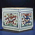 A rare mingwucaisquare box, Wanli six-character mark within double-circles and of the period (1573-1619)