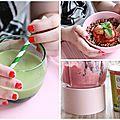 Menu d'été: velouté froid de petits pois, boulettes à la menthe et quinoa, sorbet express aux fraises {le défi sojade}