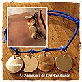 Bracelet médailles 15 mm plaquées or bleu roi
