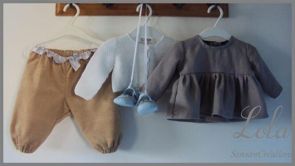Ens Tunique Courte Pantalon velours 3-6 Mois (3)