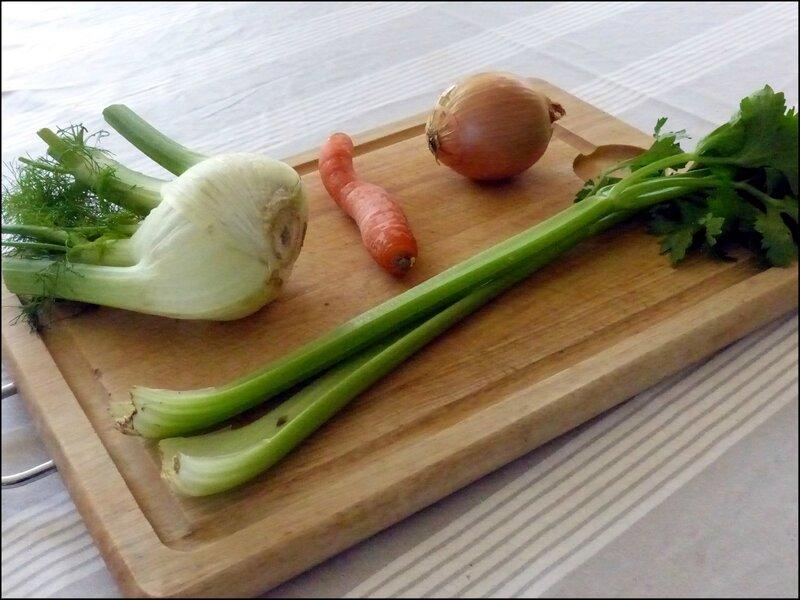 pates aux gambas - legumes