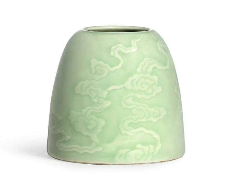 A fine celadon-glazed carved beehive waterpot, Mark and period of Kangxi (1662-1722)