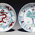 Two doucai dishes, kangxi-yongzheng period (1662-1735)