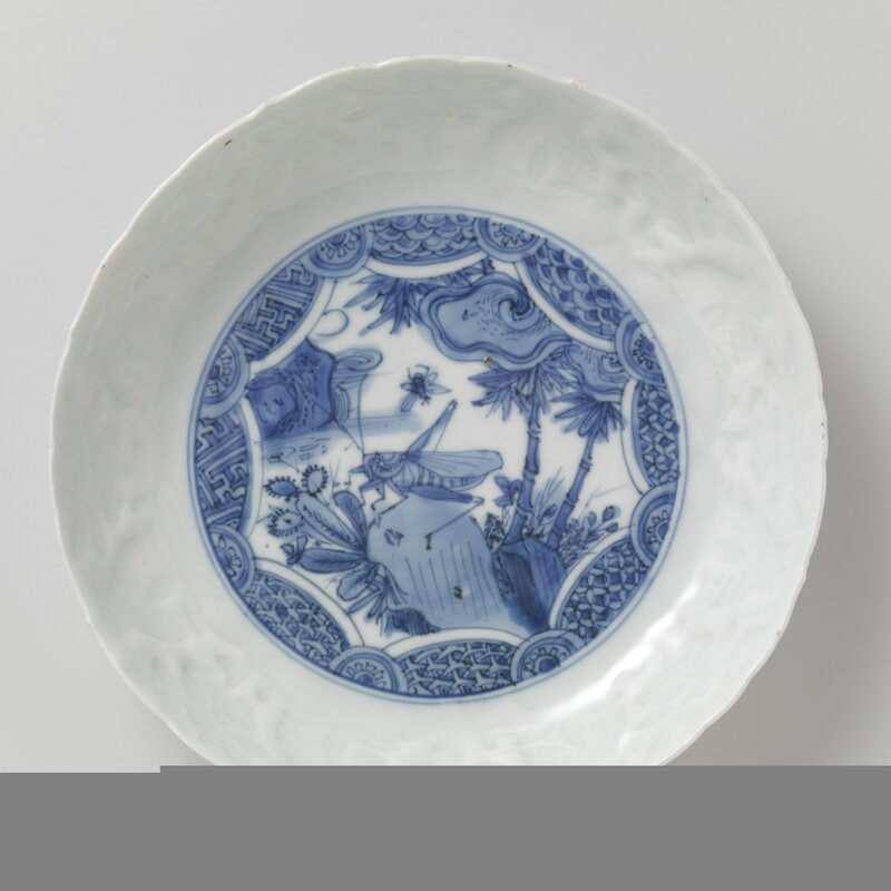 Blue and white dish with grasshopper, Wanli period (1573-1619), 1580-1620