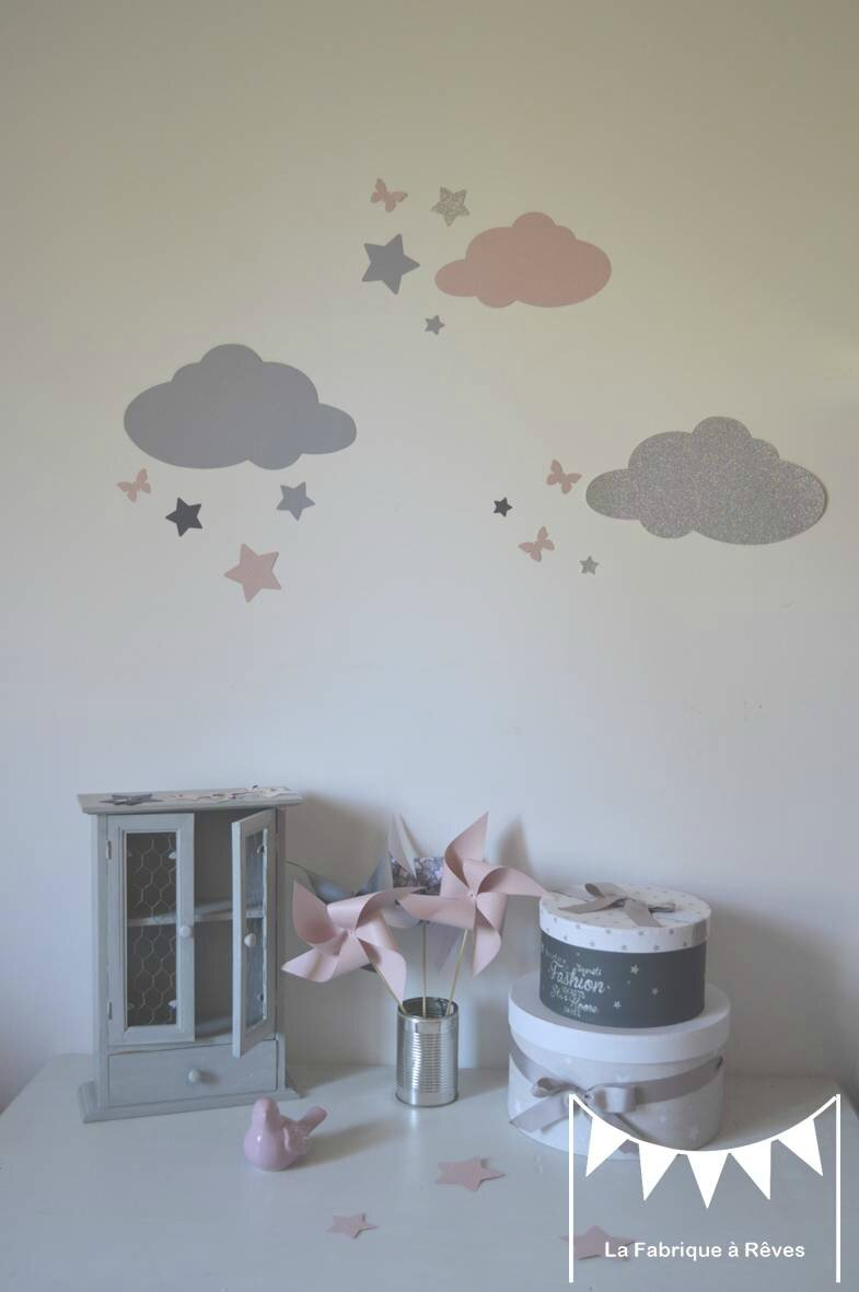 Stickers d coration chambre fille b b nuage toiles papillons rose poudr argent gris photo - Decoration chambre fille papillon ...