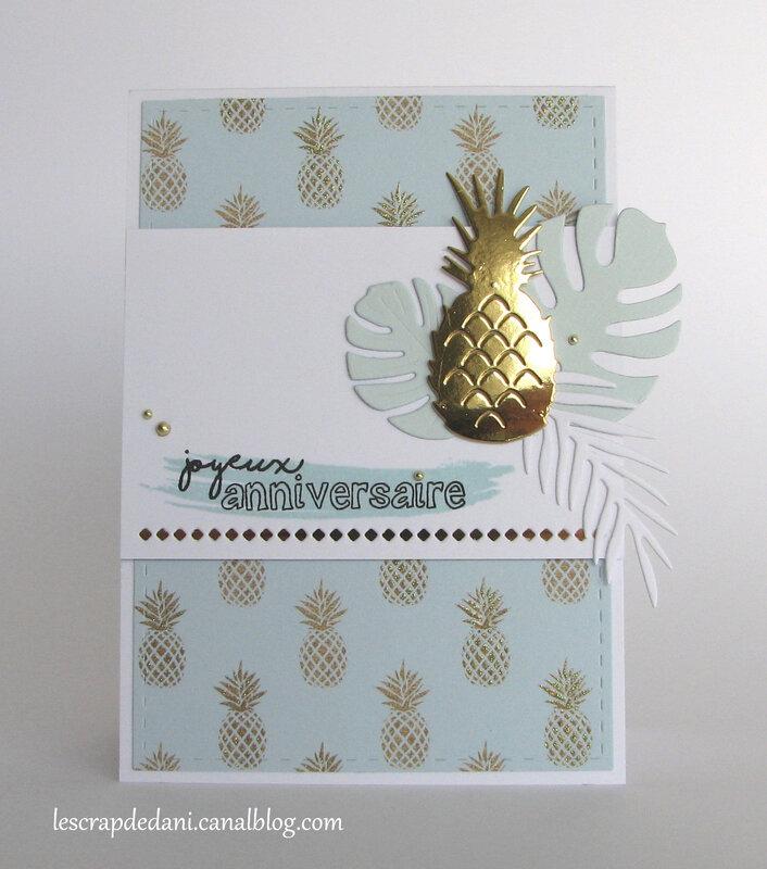 Dani carte anniversaire ananas or