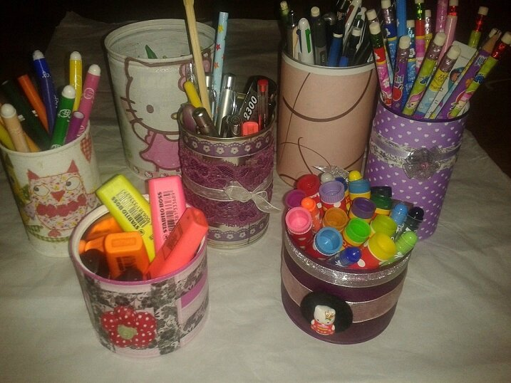 diy pot a crayons stylos recyclage boites conserve metal boite cafe carton diy. Black Bedroom Furniture Sets. Home Design Ideas