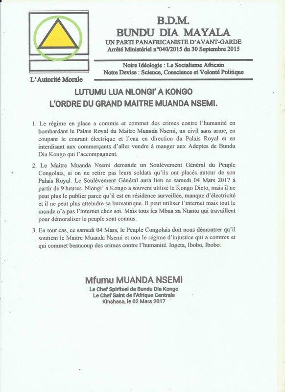LUTUMU LUA NLONGI'A KONGO L'ORDRE DU GRAND MAITRE MUANDA NSEMI