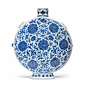 a rare and large blue and white 'peony' moonflask, bianhu, 18th century