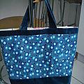 Sac cabas, sac à provisions ou sac de plage tissu toile enduite petit pan paris rouge+sac de riz recyclé