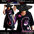 Robe made in france noire rose violet mi-longue manches arty