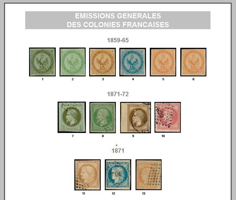 EMISSIONS GENERALES COLONIES