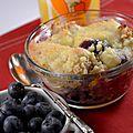Petit-déjeuner aux myrtilles, entre porridge, muffin et crumble