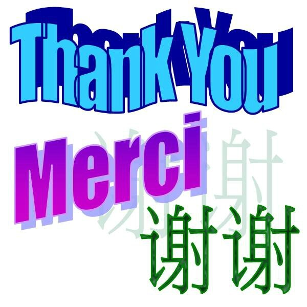 Thank You - english french chinese