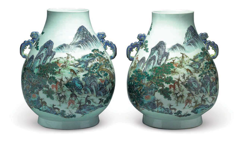 A pair of yangcai 'hundred deer' vases with blue-enamelled handles