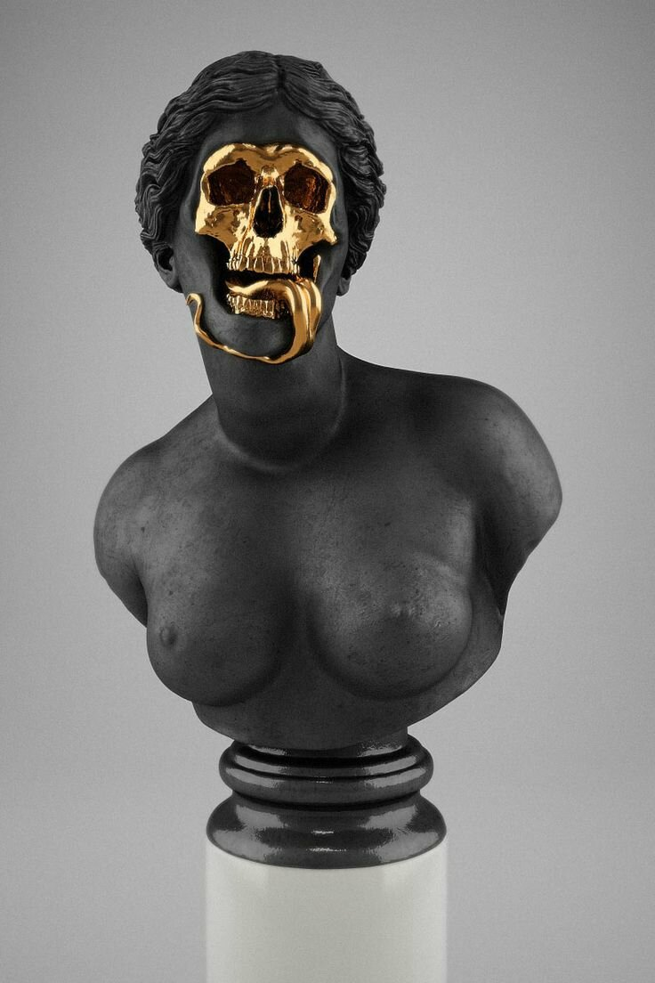 Hedi Xandt, The God Of The Grove, 2013. gold-plated brass, polymer, distressed black finish, marble.© 2014 Hedi Xandt