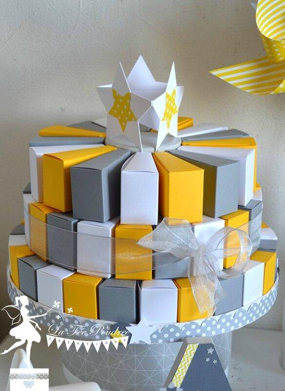 gateau dragees bapteme theme etoile jaune gris blanc