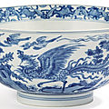 A blue and white 'dragon and phoenix' bowl, qing dynasty, kangxi period