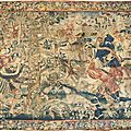 Tapisserie en laine et soie représentant une scène de chasse. tournai , premier quart du xvie siècle