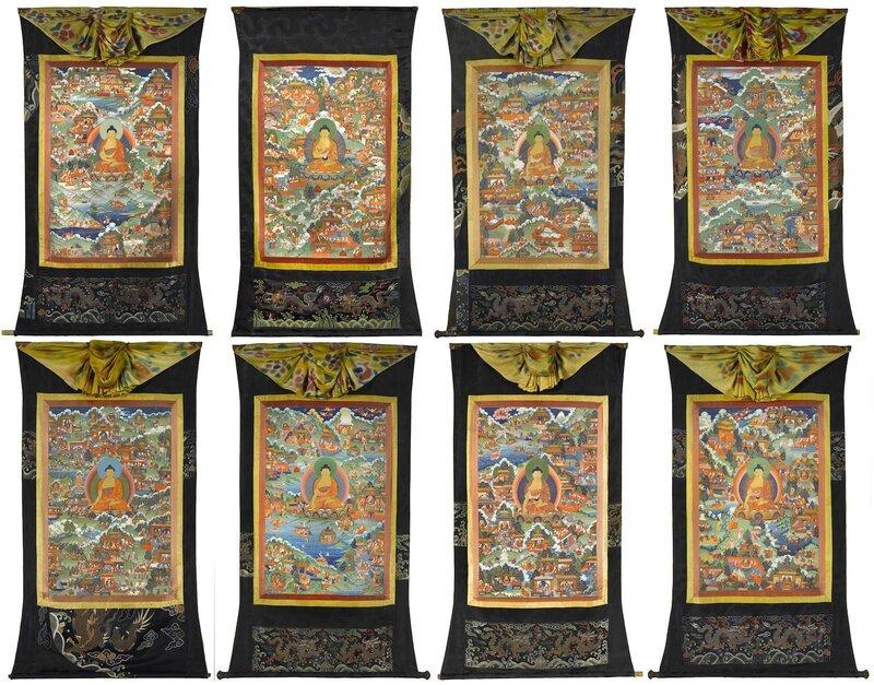 A group of eight thangkas from an Avadanakalpalata set, Central Tibet, 18th century