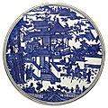 A rare large blue and white circular plaque, ming dynasty, wanli period (1573-1620)